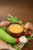 stock photo of vegetable soup  - Various vegetable ingredients and the soup  - JPG