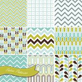 stock photo of optical  - A set of seamless retro Zig zag and floral patterns - JPG