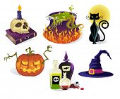 stock photo of witches cauldron  - Halloween Icons  - JPG