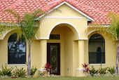 stock photo of entryway  - Entryway to a middle class home in central Florida - JPG