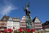 FRANKFURT, GERMANY - AUG 23: The Statue of Lady Justice in Romer Square on August 23, 2012 in Frankf