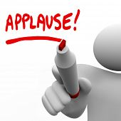pic of applause  - A man writing the word Applause with a red marker to ask an audience to give a big hand and show appreciation for a great job or to show approval for an idea - JPG