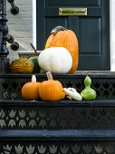 foto of red siding  - Thanksgiving ready home doorway - JPG