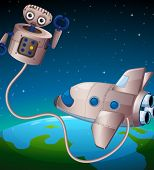 stock photo of outerspace  - Illustration of a robot and an aircraft at the outerspace - JPG