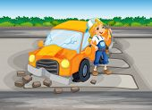 foto of kinetic  - Illustration of a girl repairing the damaged car at the road - JPG