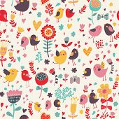 stock photo of small-flower  - Romantic floral seamless pattern with cute small birds in the garden - JPG