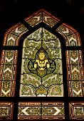 stock photo of glorify  - Stain glass of angle in the temple - JPG