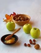 Autumn Still Life With Honey, Apples And Nuts