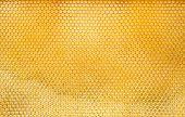 stock photo of beehives  - Pattern of hexangon honeycomb in a beehive without bees - JPG