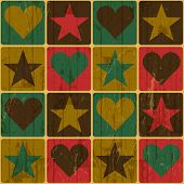 Hearts And Stars, Pop-Art Styled Poster. Raster version, vector file available in portfolio.