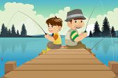 stock photo of dock a pond  - A vector illustration of father and son sitting on a dock fishing - JPG