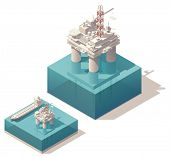 Vector isometric oil rig with tank ship