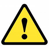 picture of warning-signs  - yellow triangular warning sign over white background - JPG