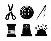 foto of sewing  - Vector sewing icons - JPG