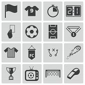 stock photo of referee  - Vector black  soccer  icons set on white background - JPG
