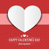 stock photo of two hearts  - Heart from paper Valentine - JPG