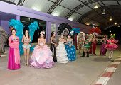 PHUKET, THAILAND DECEMBER 30: Transvestites posing free tour before the performance on December 30,