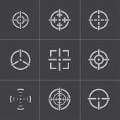 picture of crosshair  - Vector balck crosshair icons set on gray background - JPG
