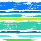 image of tribal  - Multicolor striped pattern with horizontal brushed lines in tropical blue green - JPG