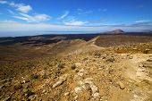 stock photo of volcanic  - in los volcanes volcanic timanfaya rock stone sky hill and summer lanzarote spain plant flower bush - JPG