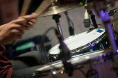 pic of drum-kit  - Drum set with focus on hi - JPG