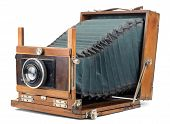 stock photo of outdated  - Vintage large format camera isolated on white - JPG