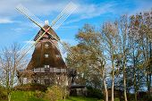 foto of wind-vane  - Traditional wooden windmill in a lush garden with four sails or blades turning in the wind to generate power and energy for farming or manufacture from the kinetic energy of the wind - JPG