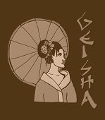 picture of geisha  - vintage image of a beauty geisha with umbrella - JPG
