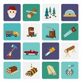picture of deforestation  - Lumberjack woodcutter flat icons set of wood timber industry isolated vector illustration - JPG