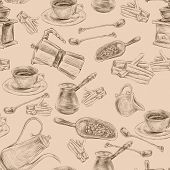 stock photo of sugar cube  - Decorative retro coffee set with grinder beans  sugar seamless background wrapping paper handdrawn design doodle vector illustration - JPG