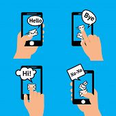 pic of xoxo  - Hand holding smartphone touching screen  sending receiving messages icons isolated vector illustration - JPG