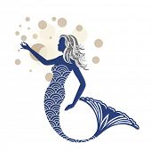 pic of mermaid  - Beautiful blue mermaid  - JPG