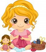 foto of doll  - Illustration of a Cute Little Girl Sewing a Dress for Her Doll - JPG