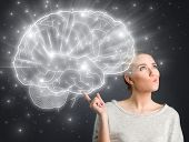 picture of big-girls  - Young girl thinking with illustrated brain  - JPG