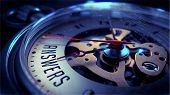 stock photo of watch  - Answers on Pocket Watch Face with Close View of Watch Mechanism - JPG
