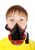 picture of breather  - Surprised Kid in Gas Mask Isolated on the White Background - JPG