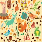 image of nightingale  - Cute seamless pattern with forest animals - JPG