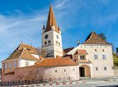 stock photo of sibiu  - Fortified Evangelical Church Cisnadie - JPG