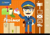 image of postman  - Profession series with moustached postman in uniform with bag and letter standing near mailbox - JPG