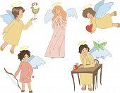 image of angel-trumpet  - set of five cute colored little angels - JPG