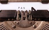 picture of faq  - Vintage inscription made by old typewriter FAQ - JPG