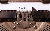 foto of typewriter  - Vintage inscription made by old typewriter FAQ - JPG
