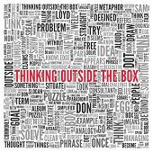 stock photo of thinking outside box  - Close up Red THINKING OUTSIDE THE BOX Text at the Center of Word Tag Cloud on White Background - JPG