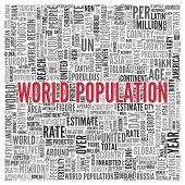 stock photo of billion  - Close up Red WORLD POPULATION Text at the Center of Word Tag Cloud on White Background - JPG