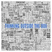 picture of thinking outside box  - Close up Blue THINKING OUTSIDE THE BOX Text at the Center of Word Tag Cloud on White Background - JPG