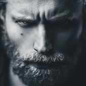 image of angry man  - Artistic portrait of angry mid aged man with white hair and beard - JPG