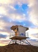 pic of lifeguard  - San Diego California USA beach lifeguard house at sunset - JPG