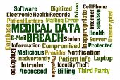image of maliciousness  - Medical Data Breach word cloud on white background - JPG