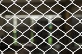 foto of chain link fence  - White Chain link fence and blur background