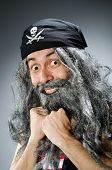 image of hirsutes  - Funny pirate with long beard - JPG